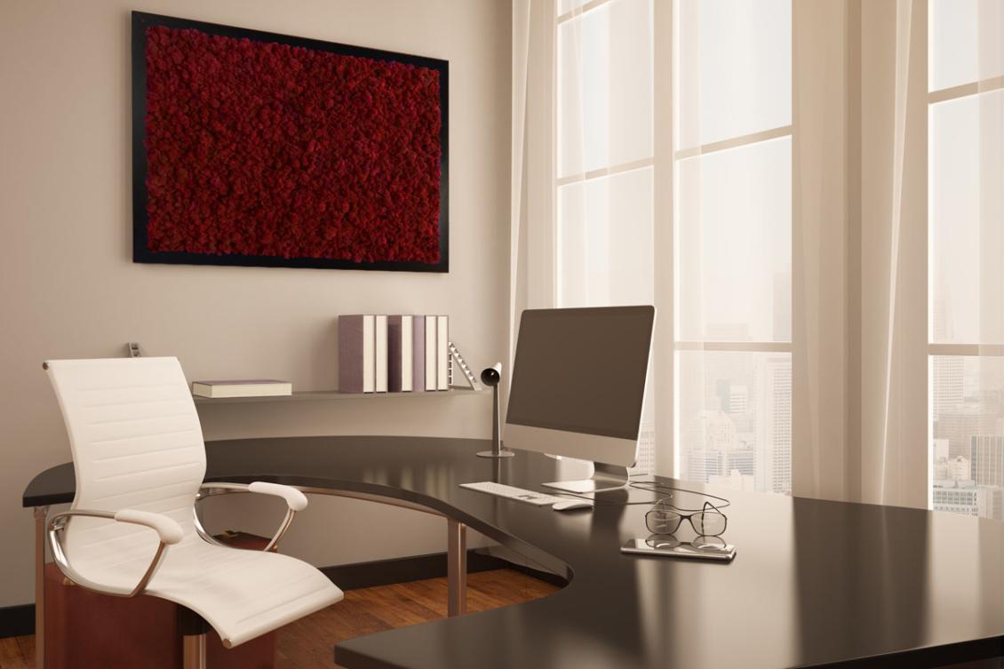 tableau végétal mousse rouge bureau