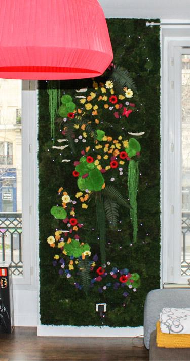 tableau végétal avec lumières, fleurs et feuillages