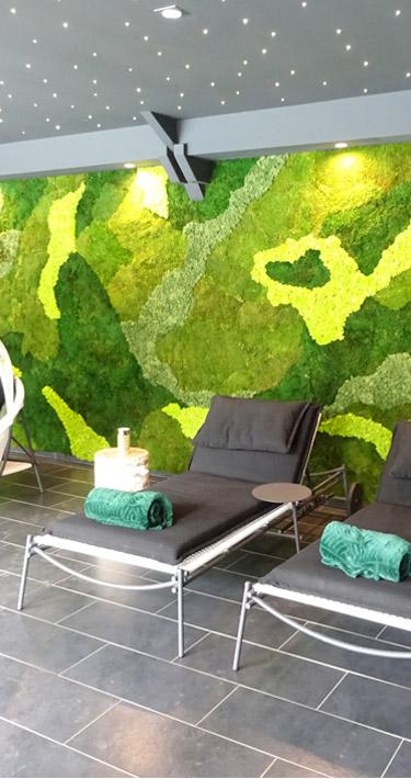 Mur végétal dans un SPA