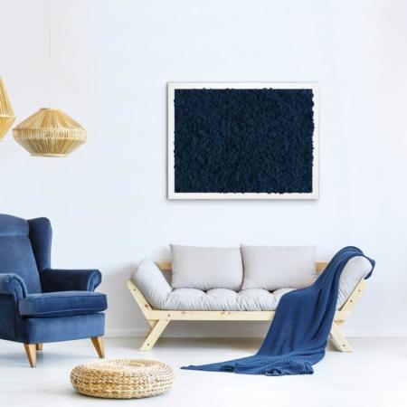 """TABLEAU VÉGÉTAL <br><span class=""""titre-produit-span-ligne2"""">en lichen scandinave naturel & stabilisé</span><br><span class=""""titre-produit-span-bleu"""">bleu Nuit</span>"""
