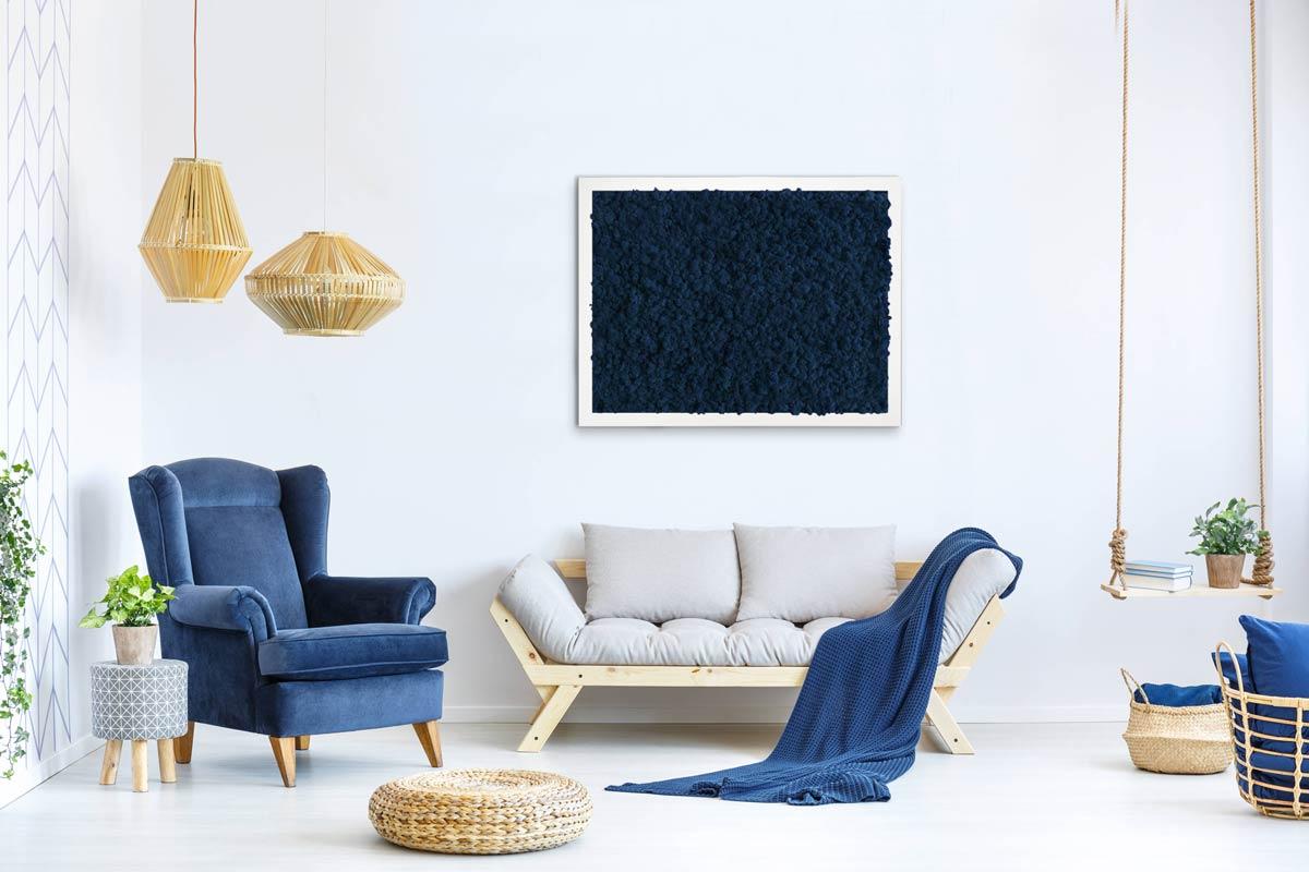 Tableau v g tal bleu mousse unie originalmoss - Tableau vegetal ...