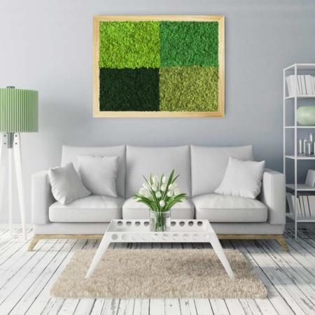 Tableau végétal design Multi - lichen naturel & stabilisé