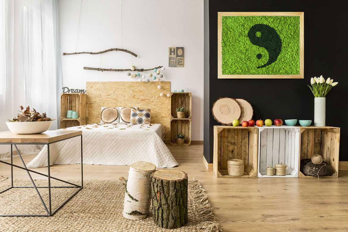tableau v g tal design ying yang mousse pr serv e original moss. Black Bedroom Furniture Sets. Home Design Ideas
